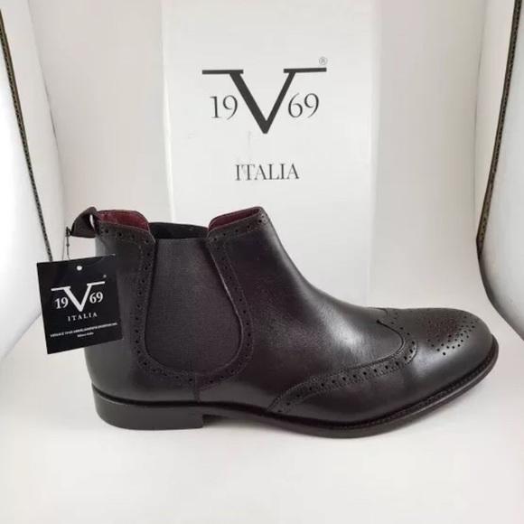 3a7d37bd New Versace Men's Dark Brown Wingtip Chelsea Boot NWT